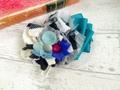 フラワーコラージュバレッタ ターコイズ3