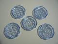 昭和レトロ 気泡入りブルーガラスの小皿 5枚セット 中古