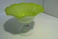 大正ロマン 手作りガラスの氷カップ(コンポート) 黄緑 珍品