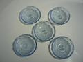 昭和レトロ 気泡入りブルーガラスのお皿 5枚セット 中古