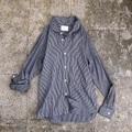 完売*ムラ糸ツイルストライプのラウンドカラーシャツ