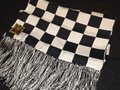 <GOLDTOP>SILK SCARF Black White Checker