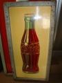 コカコーラ、ボトルデザイン木枠付きサイン