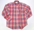 1015 長袖リネン B/Dシャツ(レッド チェック)