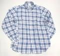 1015 長袖リネン B/Dシャツ(ネイビー チェック)