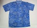 REYN SPOONER レインスプーナー 半袖フルオープンB/Dシャツ(BANDNA KUIKI BLUE)