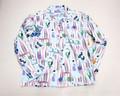 SUNSURF サンサーフ シャグ ネルプリントオープンカラーシャツ(サックスブルー)