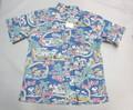 REYN SPOONER レインスプーナー 半袖フルオープンB/Dシャツ(ピーナッツ スヌーピー ダークブルー)
