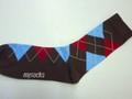 My Socks マイソックス コットンアーガイルソックス(ブラウン×サックス)