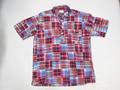 1015 半袖 マドラスパッチワーク B/Dシャツ(レッド)