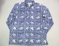 REYN SPOONER レインスプーナー 長袖フルオープンB/Dシャツ(ネイビーラハイナ)