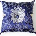 シルククッション 藍・花柄 Lサイズ