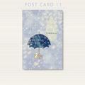 ポストカード 月光雨のネコ(傘)