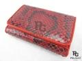 パイソン革の長財布(小)★三折★赤色