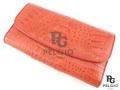 クロコダイル革の長財布★三折★赤色