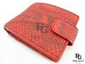 パイソン革の財布★二折★赤色★ボタン付き
