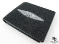 エイ革★二折りの財布★黒色★001