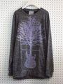ギター×木プリント薄手ニット/グレー【ARAINA】メンズ洋服ロックバンドセーター