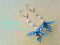 ★Flowering★ピアス・ブルー&イエロー系 Bebis accessories