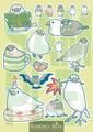 文鳥シール緑(BCB0003)