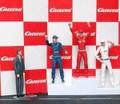 Carrera 1/32 コースサイド アクセサリー  211121◆表彰台 ウィナーズset /フィギュア 4体set  表彰台とバックパーテーション付   Winners Rostrum★おめでとう~