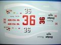 1/32 NASCAR スロットカ-用デカール              #36 CokaCola/Dr DonTarr         '69Superbird                 ◆ウォータースライドデカール