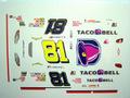 """1/32スロットカー用 NASCARデカール  ★#81Dale Earnhardt.Jr  """"TACO BELL""""  Monte Carlo SS   ◆ウォータースライドデカール"""