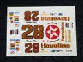 """オリジナルパーツ 1/32 スロットカー用デカール  #28 Davey Allison """"Texaco Havoline"""" CHEVY LUMINA   1/32スケール NASCAR デカール ◆ウォータースライドデカール。"""