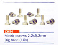 slotit製 1/32スロットカーパーツ  CH54◆ブロンズ・段付きビス ショートタイプ /2.2mm×5.3mm(10本入)ビッグヘッド!  ◎ボディーガタ出し加工に最適!