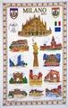 【送料無料】ミラノの観光名所をモチーフにしたタペストリー 55 X 89cm Made in Italy