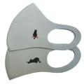 猫柄ワンポイント刺繍 洗えるフィットマスク(グレー2柄セット)