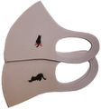 猫柄ワンポイント刺繍 洗えるフィットマスク(ピンク2柄セット)