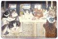 2面パスケース(猫たちの最後の晩餐)