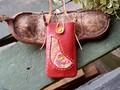 モン族刺繍布入りレザーiPhone/スマフォケース・レッドC