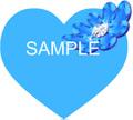 No544 キラキラ素材 花とハート ブルー