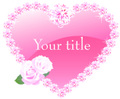 No.647 お洒落なキラキラ☆薔薇とダイヤモンドのハート パープル