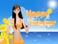 No.675 キラキラ☆夏のイラスト 海と女と向日葵