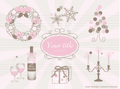 No1090 お洒落なクリスマスのイラスト ピンク