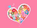 No1106 おしゃれなハートと小花のイラスト ピンク