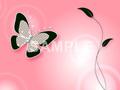 No787 キラキラ素材 蝶と葉 オレンジ