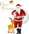 No914 クリスマス サンタクロースとトナカイ メリークリスマスロゴ入り