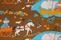 トムテと動物のレトロファブリック(120×189cm)