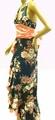 1217 花柄サテンロングドレス