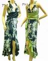 1218 アシメフレアー花柄ロングドレス