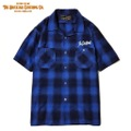 "DUCKTAIL CLOTHING SHORT SLEEVE OPEN COLLAR CHECK SHIRTS ""UNRIPE"" BLUE"