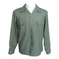 "Addiction KUSTOM THE LIFE OPEN COLLAR SHIRTS ""OPEN GABARDINE L/S SHIRT"" GREEN"
