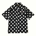 "DUCKTAIL CLOTHING POLKA DOT OPEN COLLAR SHIRT ""VACATION"" BLACK"