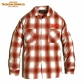 "DUCKTAIL CLOTHING ""TURN AROUND"" LONG SLEEVE OPEN COLLAR CHECK SHIRTS ORANGE"