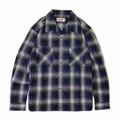 "Addiction KUSTOM THE LIFE OPEN COLLAR SHIRTS ""OPEN CHECK L/S SHIRT"" BLUE"
