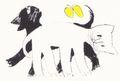 《ポストカード》きくちちき「しろねこくろねこ」B・二匹と蝶